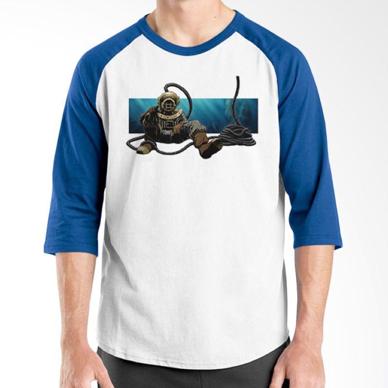 Ordinal Diving Geek 14 Raglan Biru Putih Kaos Pria