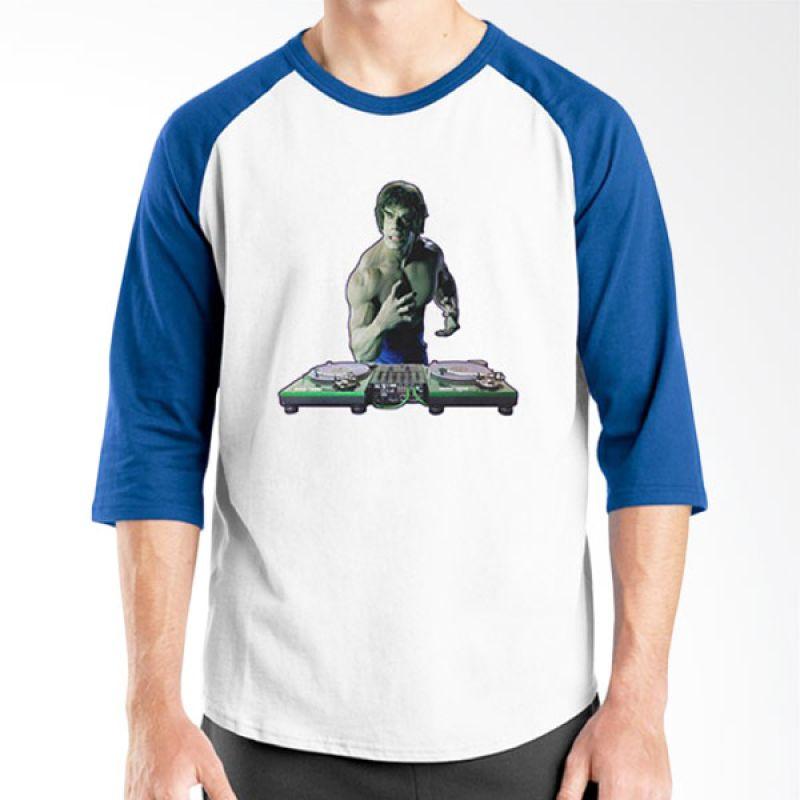 Ordinal DJ Addict 05 Raglan Putih Biru Kaos Pria