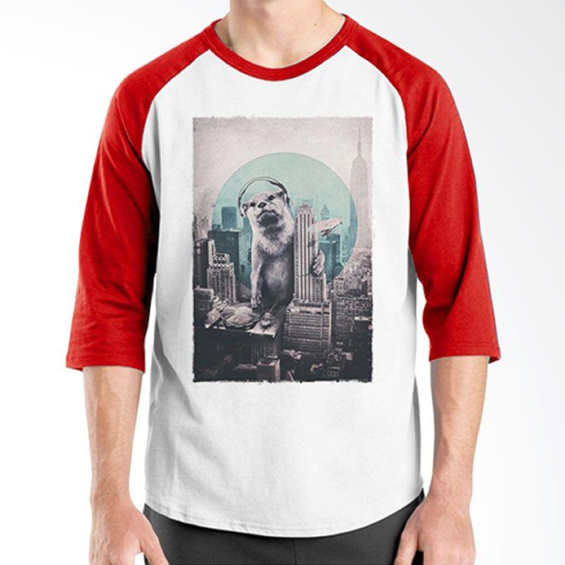 Ordinal DJ Addict 08 Raglan Putih Merah Kaos Pria