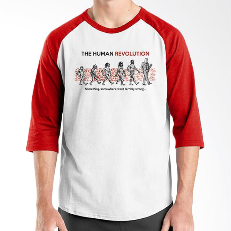 Ordinal Evolution Edition Human Revolution Raglan Merah Putih T-Shirt Pria