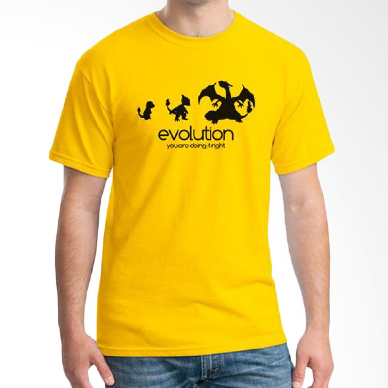 Ordinal Evolution Edition Kuning Digimon T-shirt Pria