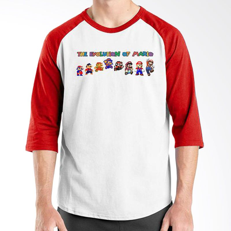 Ordinal Evolution Edition Mario Merah Putih Kaos Pria