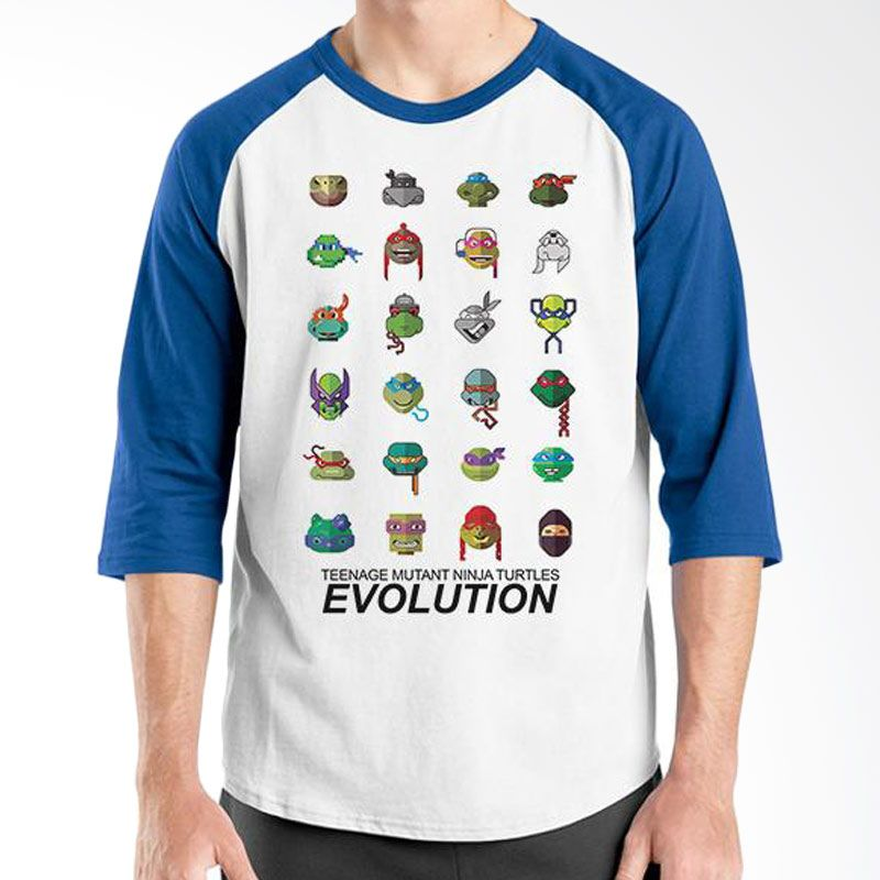 Ordinal Raglan Evolution Edition TMNT Biru Putih T-Shirt Pria