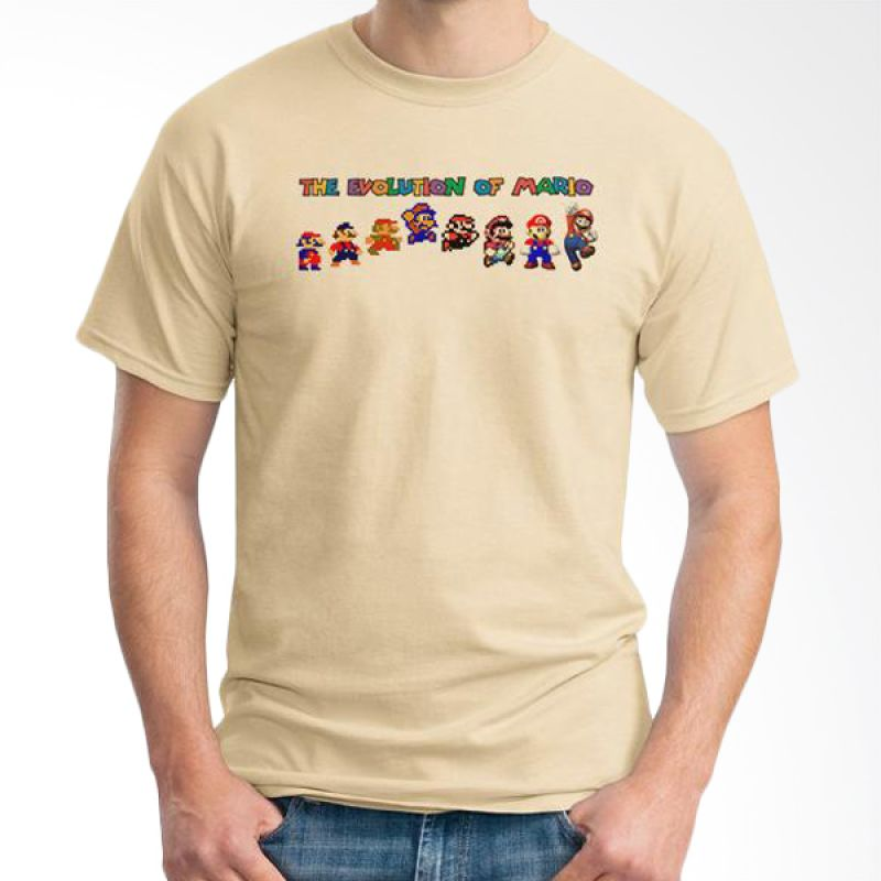 Ordinal Evolution Mario Edition Coklat Krem T-Shirt Pria