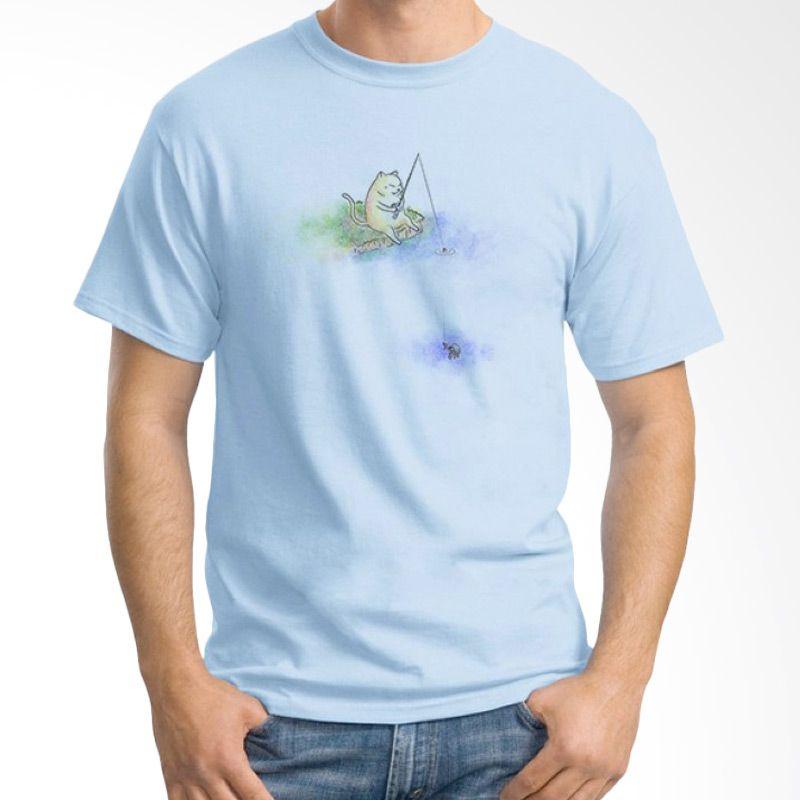 Ordinal Fishing Cat Edition Biru Muda T-Shirt Pria