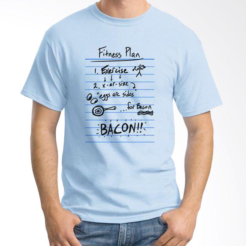 Ordinal Fitness Plan Biru Muda Kaos Pria