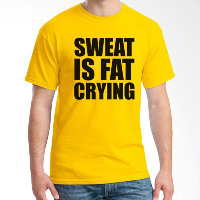 Ordinal Fitness Sweat Is Fat Crying Kuning T-Shirt Pria