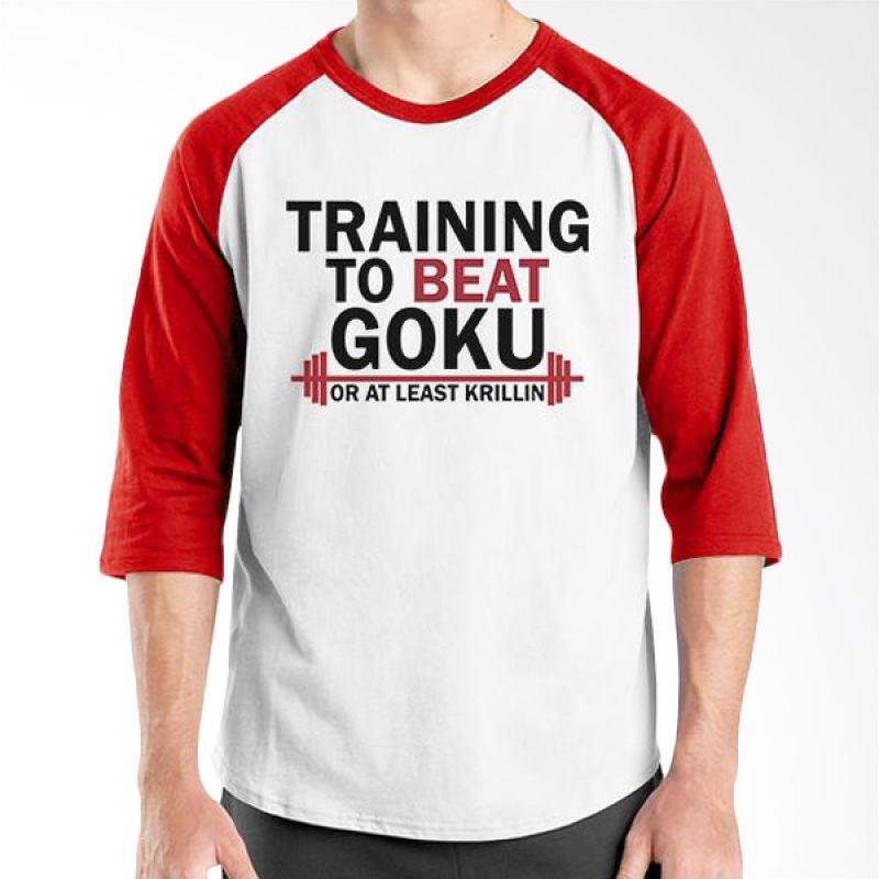 Ordinal Raglan Fitness To Beat Goku Putih Merah T-Shirt Pria