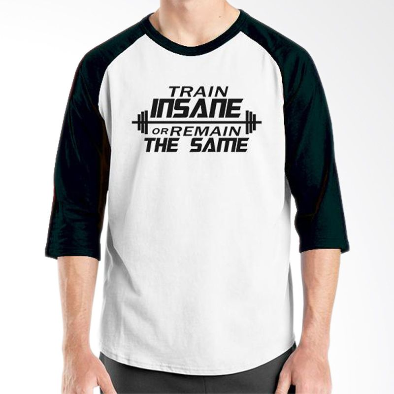 Ordinal Fitness Train Insane Raglan Putih Hitam T-Shirt Pria
