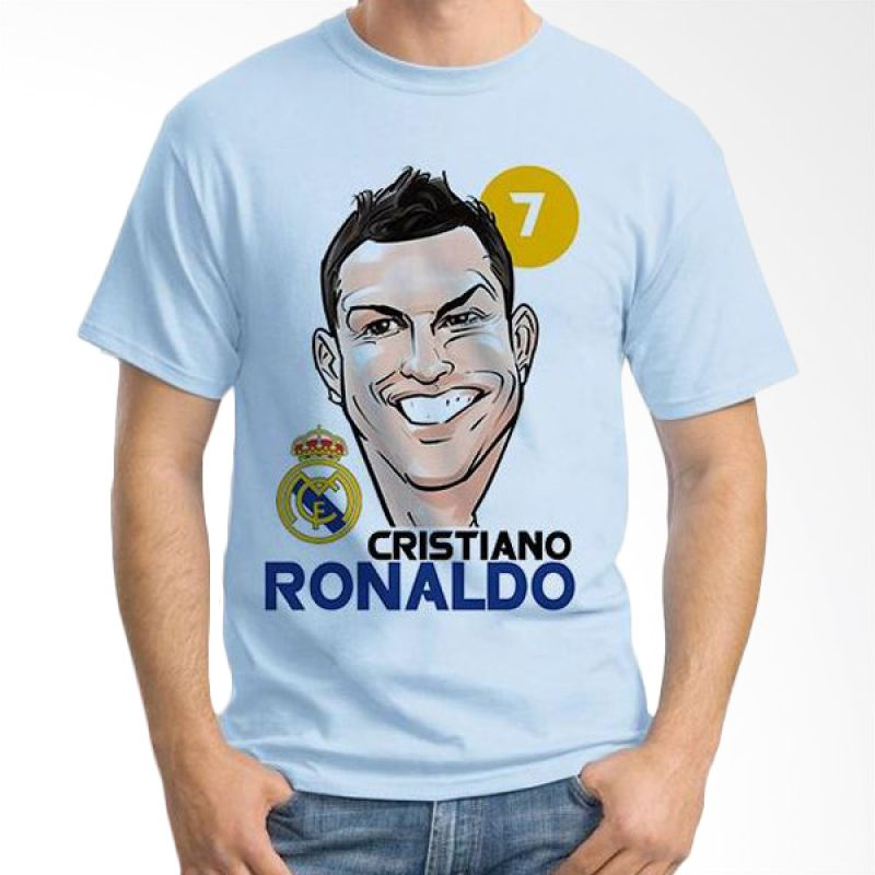 Ordinal Football Player Edition 15 Cristiano Ronaldo Biru Muda T-Shirt Pria