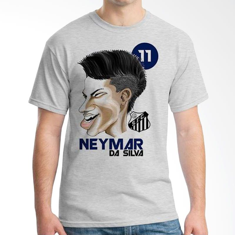 Ordinal Football Player Edition 54 Neymar Grey T-Shirt Pria
