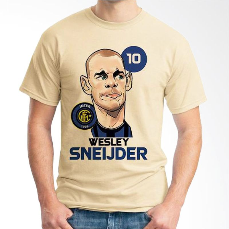 Ordinal Football Player Edition 75 Sneijder Coklat Krem T-Shirt Pria