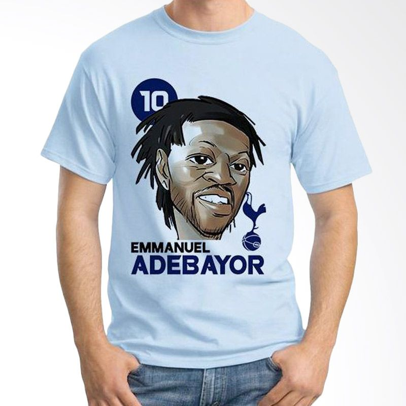 Ordinal Football Player Edition Adebayor 02 Biru Muda Kaos Pria