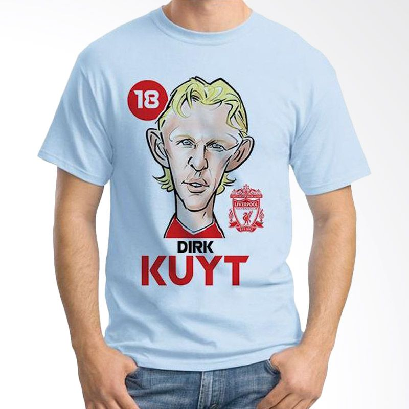 Ordinal Football Player Edition Dirk Kuyt 22 Biru Muda Kaos Pria