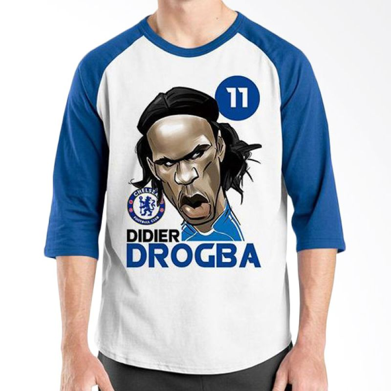 Ordinal Football Player Edition Drogba Raglan Biru Putih T-Shirt Pria