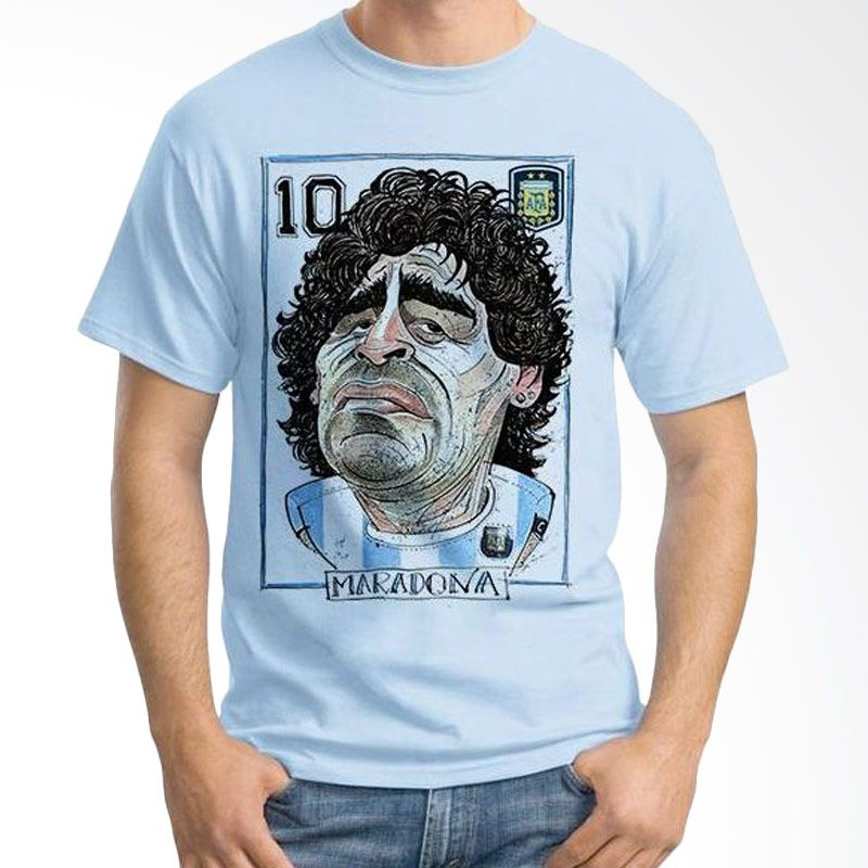 Ordinal Football Player Edition Maradona 42 Biru Muda Kaos Pria