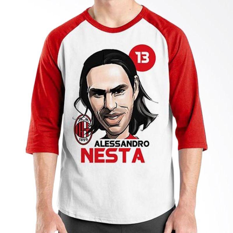 Ordinal Football Player Edition Nesta Raglan Merah Putih T-Shirt Pria