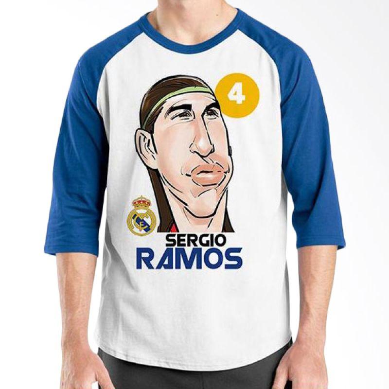Ordinal Football Player Edition Ramos Raglan Biru Putih T-Shirt Pria