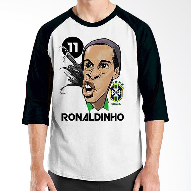 Ordinal Football Player Edition Ronaldinho 01 Raglan Hitam Putih T-Shirt Pria