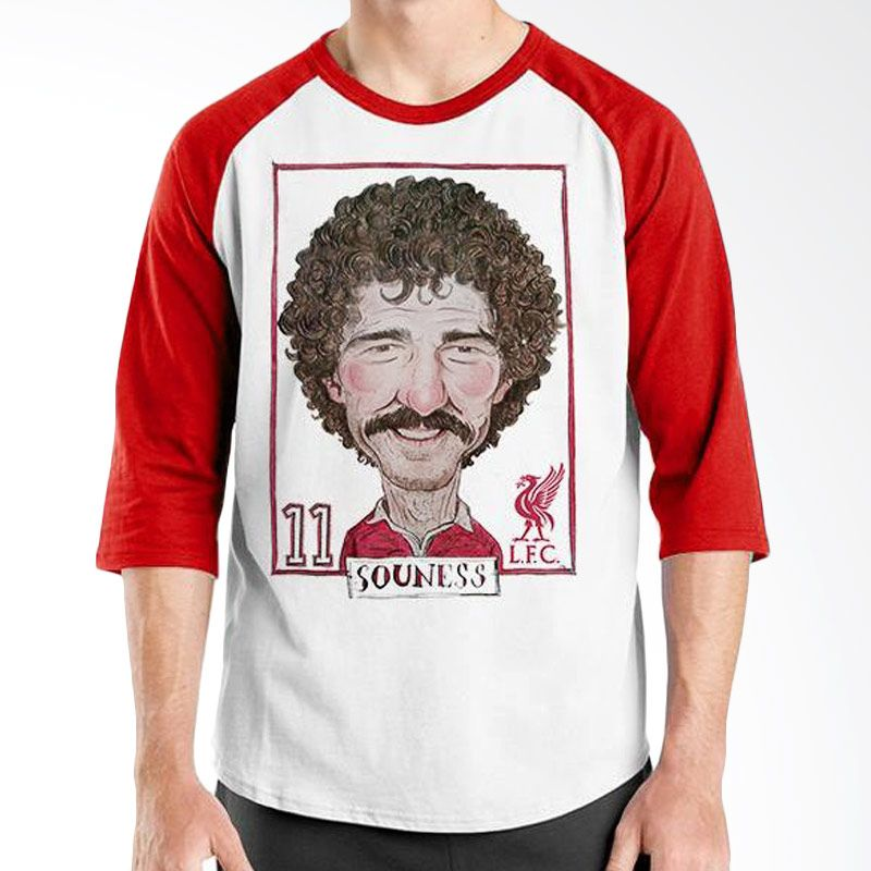 Ordinal Raglan Football Player Edition Souness Merah Putih T-Shirt Pria