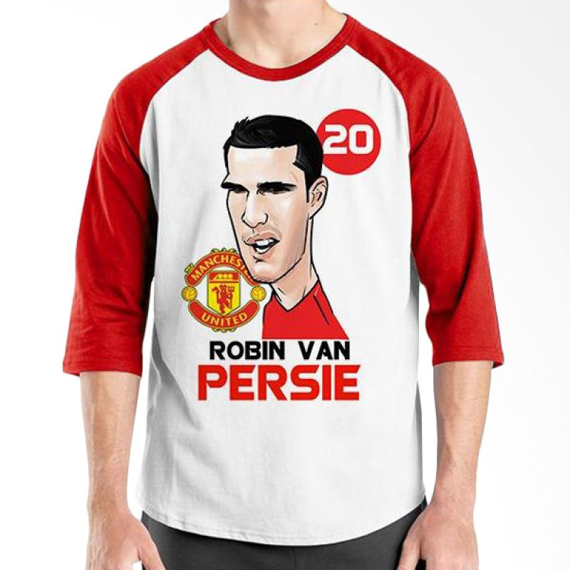 Ordinal Football Player Edition Van Persie Raglan Merah Putih T-Shirt Pria