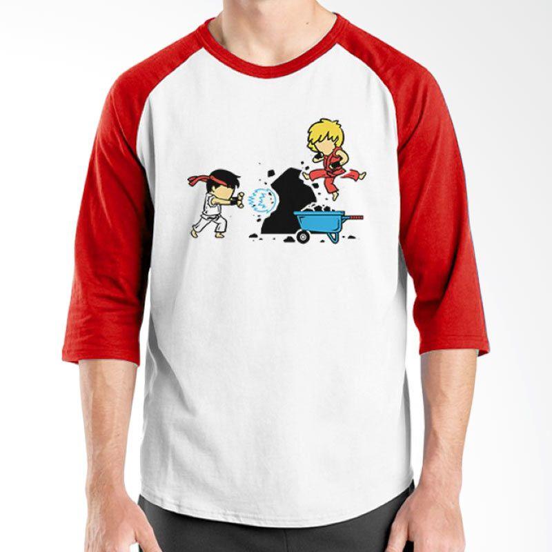 Ordinal Funny Job Superheroes Edition 04 Merah Putih Raglan T-Shirt Pria