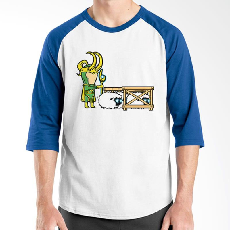 Ordinal Funny Job Superheroes Edition 07 Biru Putih Raglan T-Shirt Pria