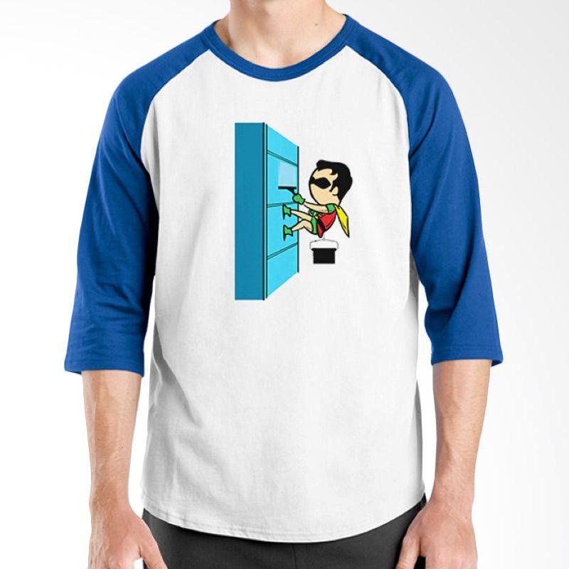 Ordinal Funny Job Superheroes Edition 15 Biru Putih Raglan T-Shirt Pria