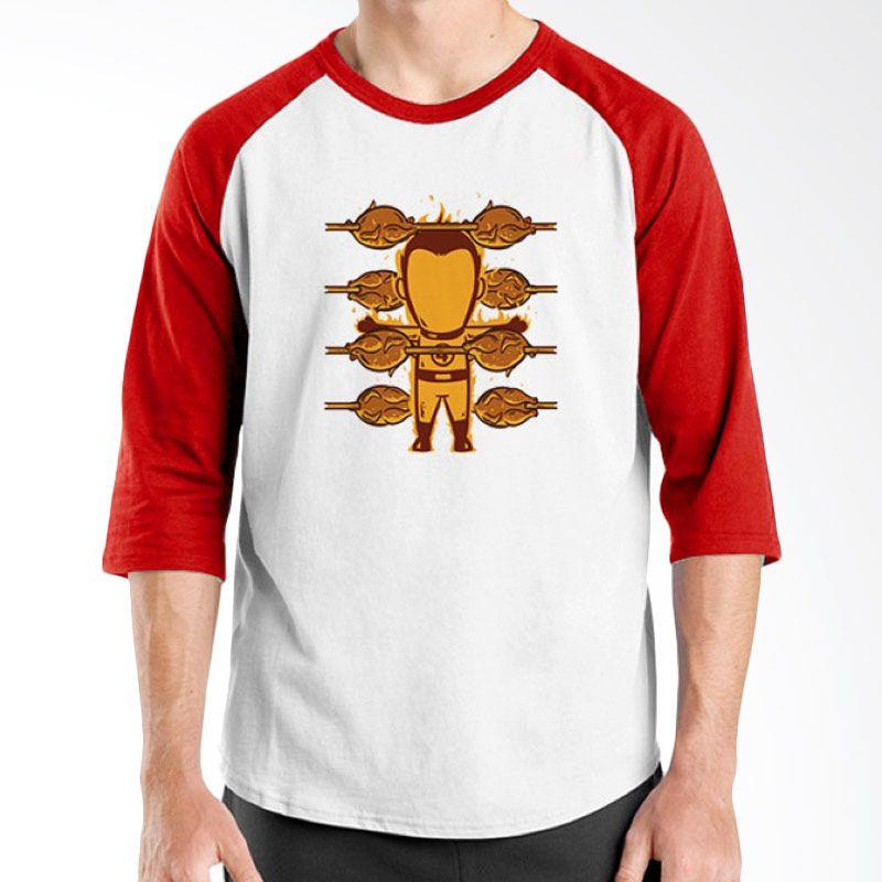 Ordinal Funny Job Superheroes Edition 16 Merah Putih Raglan T-Shirt Pria