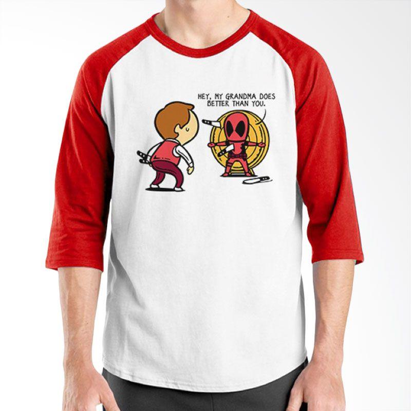 Ordinal Funny Job Superheroes Edition 17 Merah Putih Raglan T-Shirt Pria