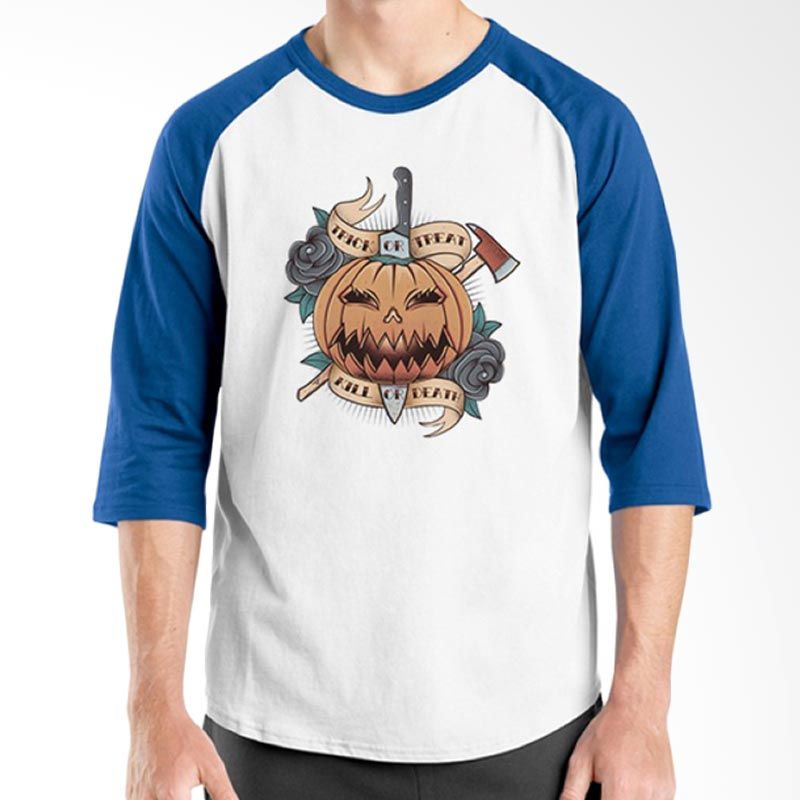 Ordinal Halloween Trick or Treat 03 Raglan Putih Biru Kaos Pria