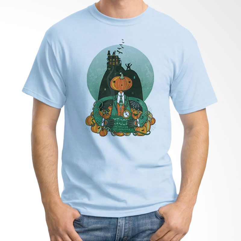 Ordinal Halloween Trick or Treat 04 Biru Muda T-Shirt Pria