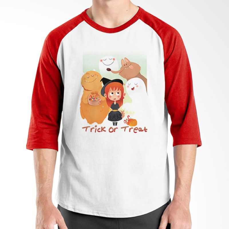 Ordinal Halloween Trick or Treat 05 Raglan Putih Merah Kaos Pria