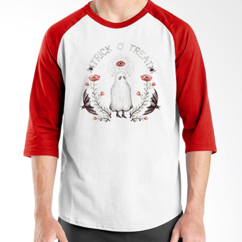 Ordinal Halloween Trick or Treat 13 Raglan Putih Merah Kaos Pria