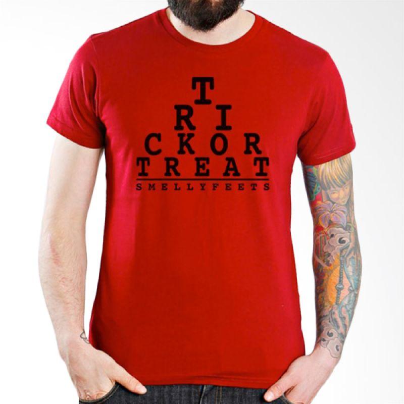 Ordinal Halloween Trick or Treat 14 Merah T-Shirt Pria