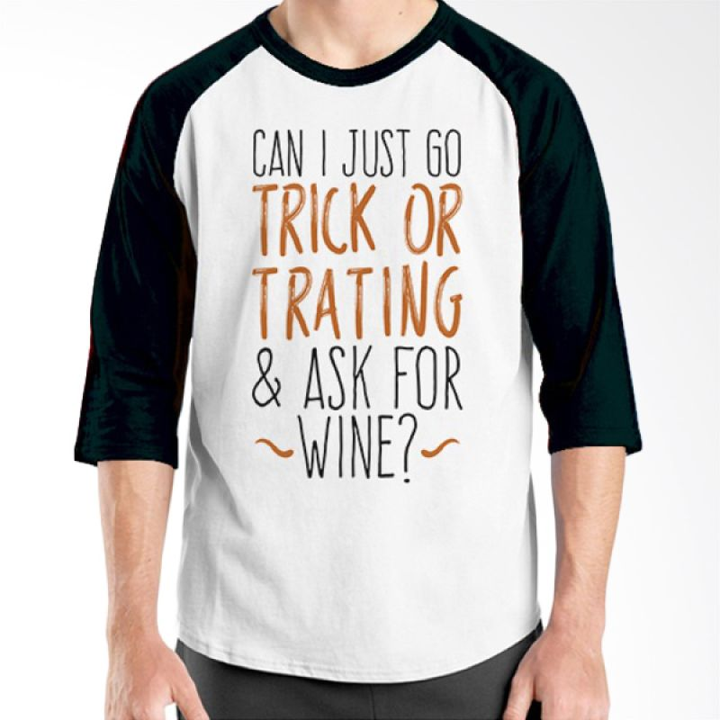 Ordinal Halloween Trick or Treat 15 Raglan Putih Hitam Kaos Pria