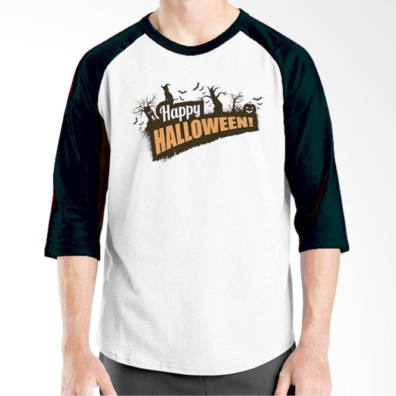 Ordinal Happy Halloween 01 Raglan Putih Hitam Kaos Pria