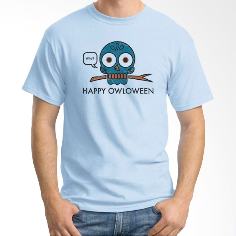 Ordinal Happy Halloween 02 Biru Muda Kaos Pria