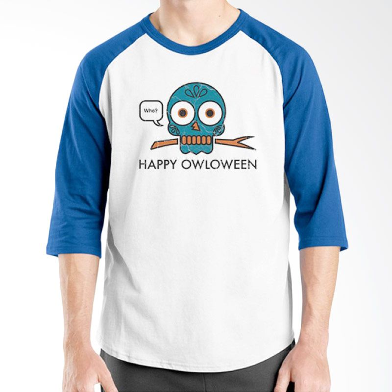 Ordinal Happy Halloween 02 Raglan Putih Biru Kaos Pria