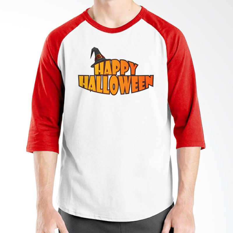 Ordinal Happy Halloween 04 Raglan Putih Merah Kaos Pria