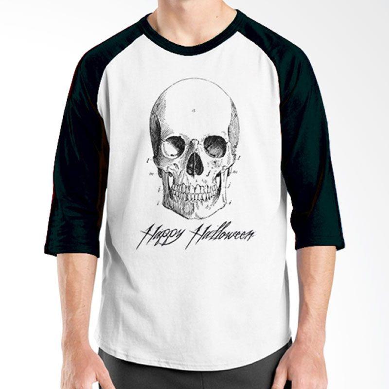 Ordinal Happy Halloween 06 Raglan Putih Hitam Kaos Pria