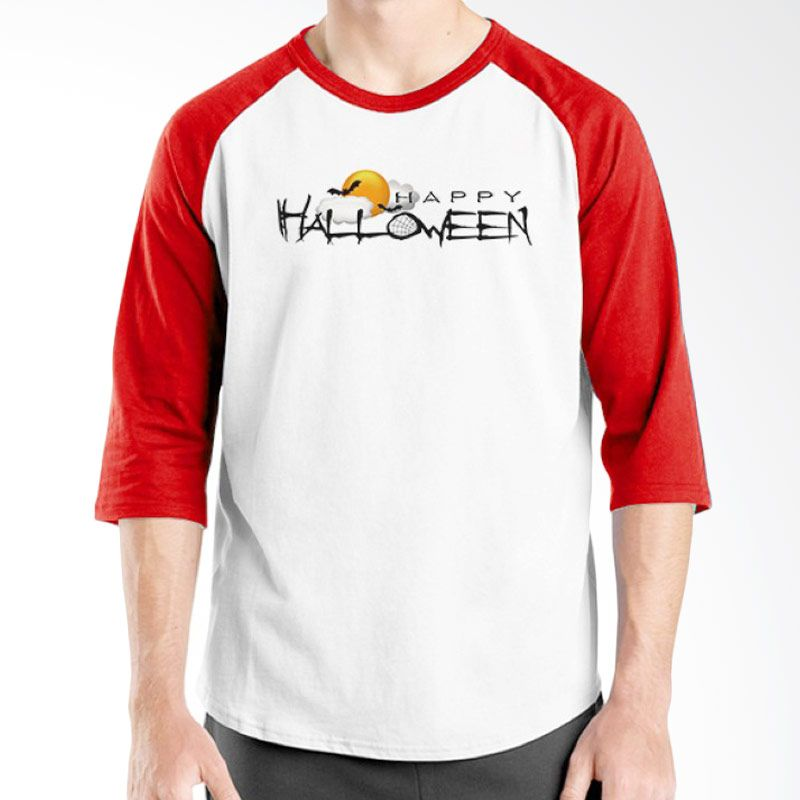 Ordinal Happy Halloween 08 Raglan Putih Merah Kaos Pria