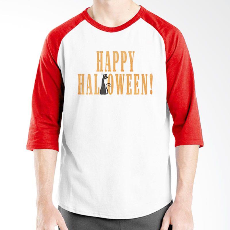 Ordinal Happy Halloween 09 Raglan Putih Merah Kaos Pria