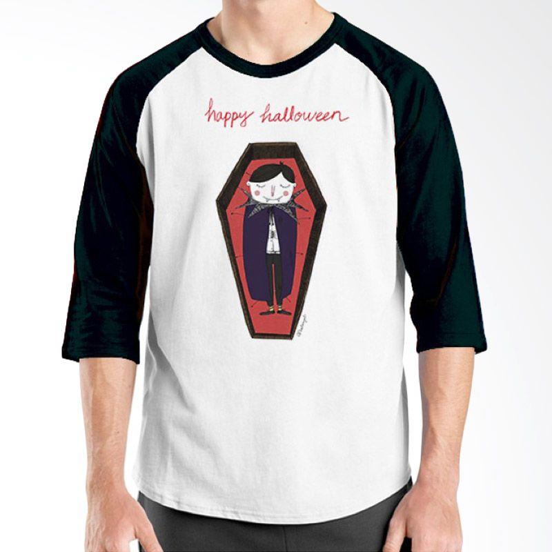 Ordinal Happy Halloween 13 Raglan Putih Hitam Kaos Pria