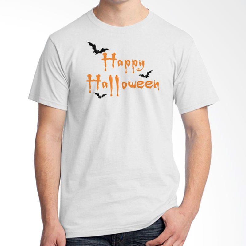 Ordinal Happy Halloween 14 Putih Kaos Pria