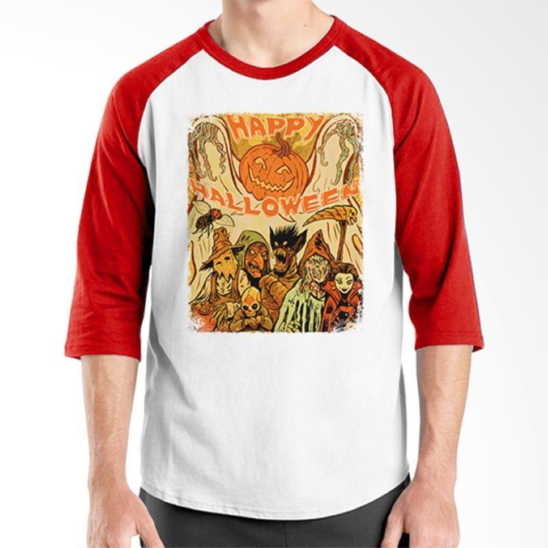 Ordinal Raglan Happy Halloween 15 Putih Merah T-Shirt Pria