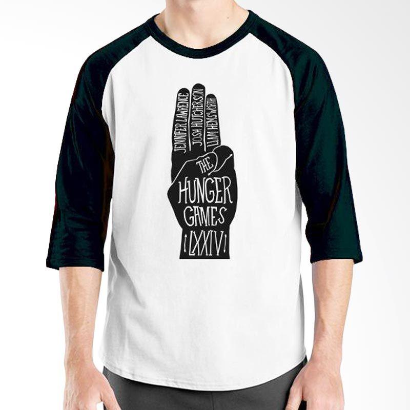 Ordinal Hunger Games 01 Raglan Putih Hitam T-Shirt Pria