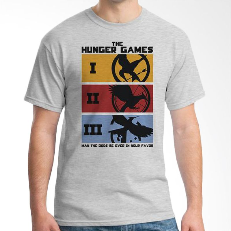 Ordinal Hunger Games 02 Abu-abu T-Shirt Pria