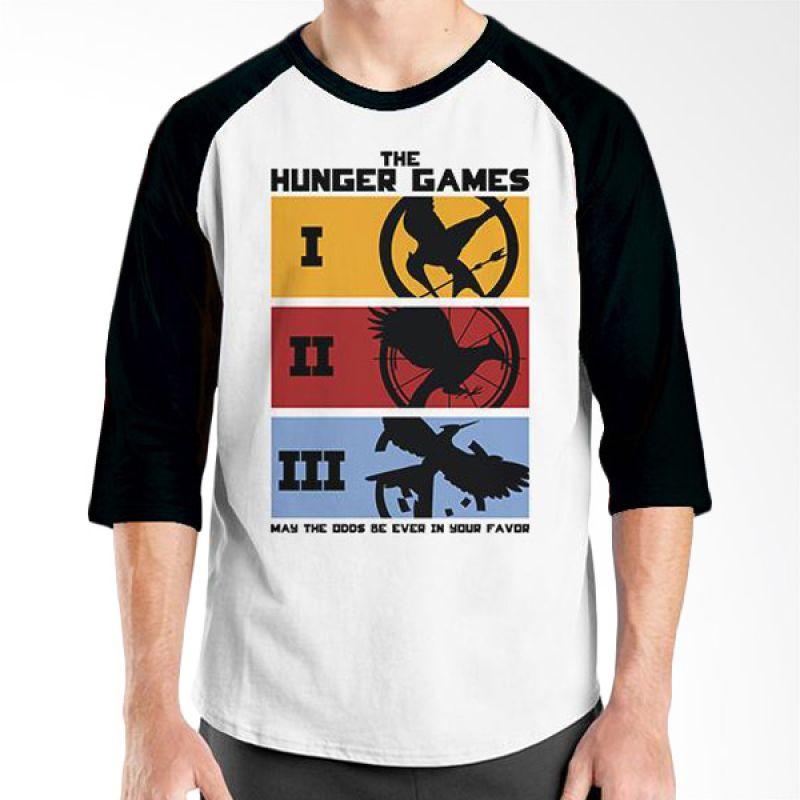 Ordinal Hunger Games 02 Raglan Putih Hitam T-Shirt Pria