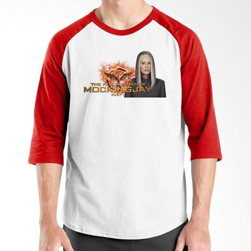 Ordinal Hunger Games 03 Raglan Putih Merah T-Shirt Pria